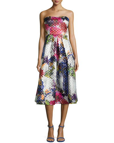 Strapless Floral-Print Tea-Length Dress
