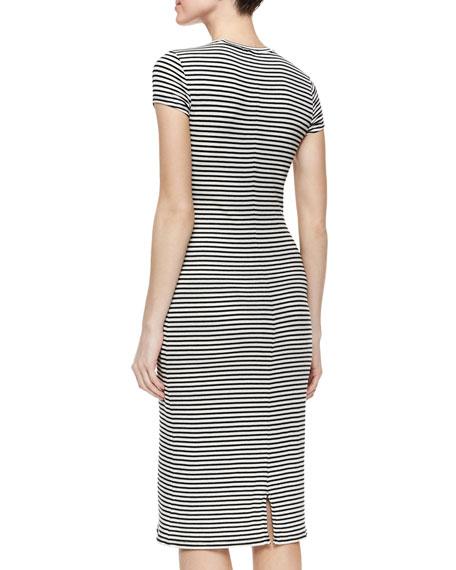 Cap-Sleeve Striped Slim Midi Dress