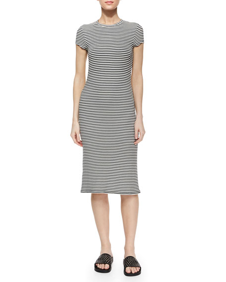 ATM Anthony Thomas Melillo Cap-Sleeve Striped Slim Midi
