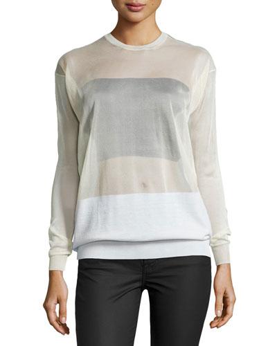 Long-Sleeve Sheer Pullover