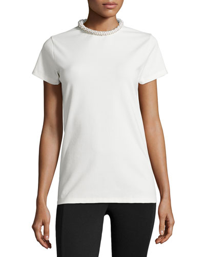 Embellished Crewneck Tee, White