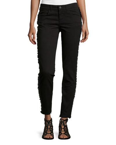 Skinny Ankle Jeans W/ Fringe Trim, Black