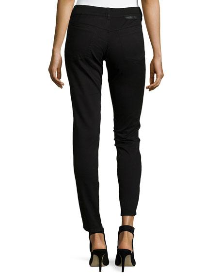 Tuxedo Velvet-Front Jeans, Black