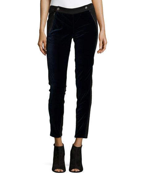 Stella McCartney Tuxedo Velvet-Front Jeans, Black