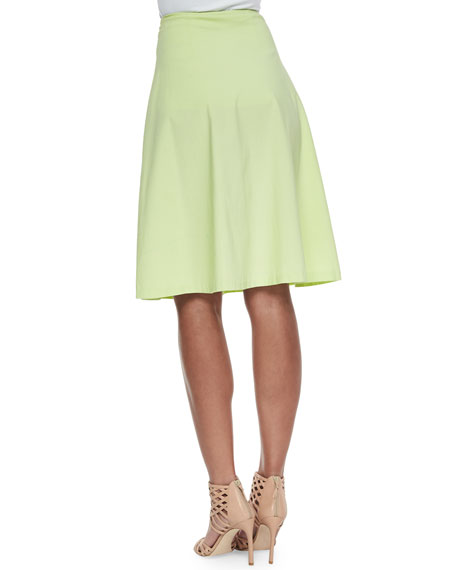 avenue montaigne woven stretch a line circle skirt