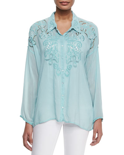 Long-Sleeve Damask Blouse