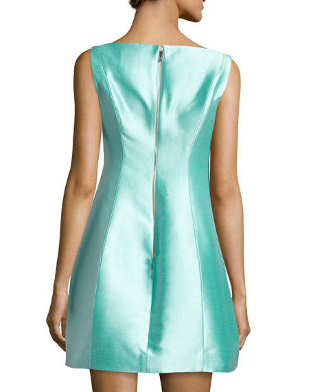STRUCTURED SILK MINI DRESS