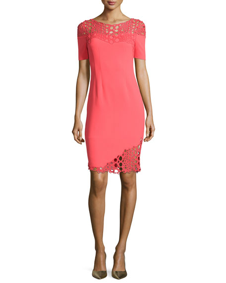 Elie Tahari Tabitha Eyelet-Detail Sheath Dress