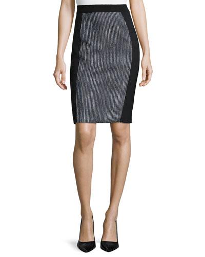 Kim Tweed-Panel Pencil Skirt