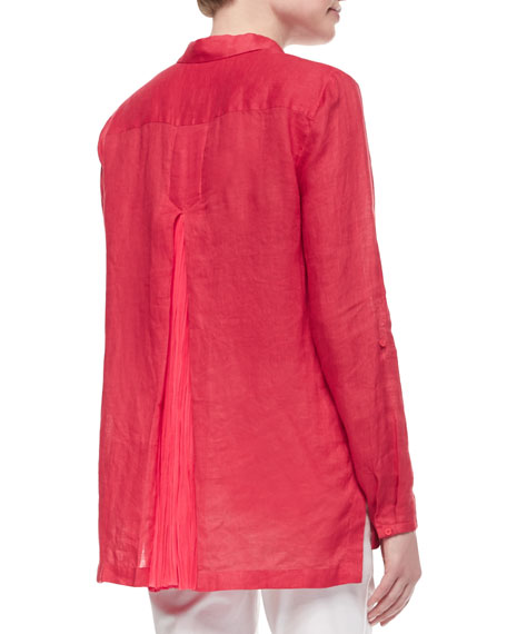 Carly Linen Long-Sleeve Pleated-Back Blouse