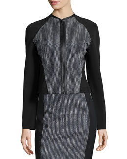 Sydney Tweed Zip-Front Jacket