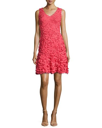Sleeveless Petal Cocktail Dress, Coral