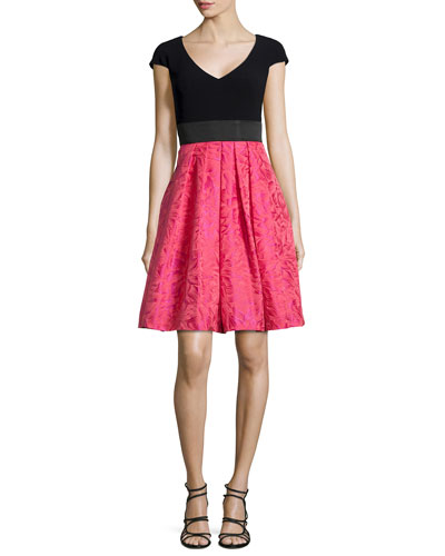 Floral V-Neck Fit-and-Flare Dress, Cerise