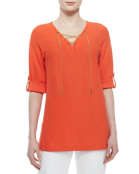 Joan Vass Cotton Pique Lace-Up Tunic, Petite