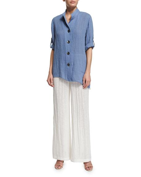 Crinkled Linen Wide-Leg Pants, Plus Size