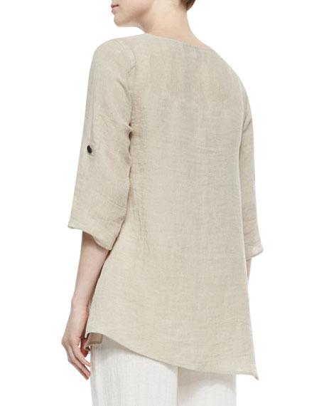 Crinkled Asymmetric Linen Tunic, Plus Size