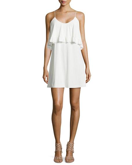 T-Bags Sleeveless Ruffle Dress, White