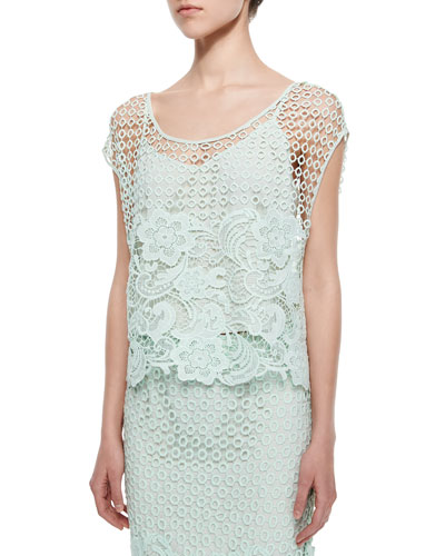 Armor Lace Cap-Sleeve Top