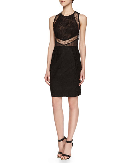 Sleeveless Floral Lace Mesh Dress