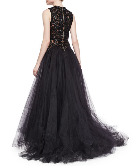 Beaded Contrast Tulle Gown, Black