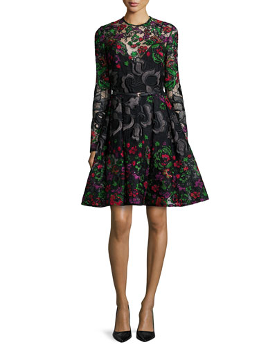 Long-Sleeve Embroidered Guipure Short Dress, Multicolor