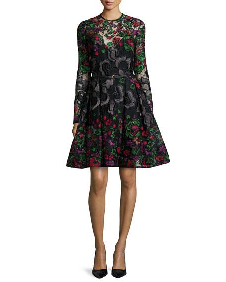 Elie Saab Long-Sleeve Embroidered Guipure Short Dress, Multicolor