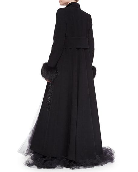 Elie Saab Fox Fur-Trimmed Beaded Coat