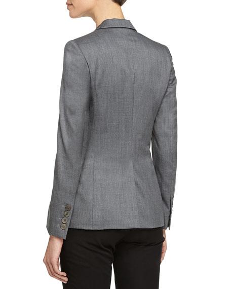 Blazer-Style Wool Jacket, Gray