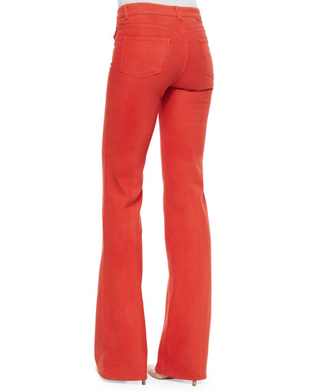High-Waist Boot-Cut Denim Jeans, Red