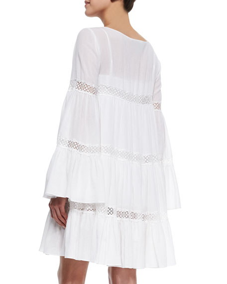 Susie Lace-Trim Tiered Shift Dress