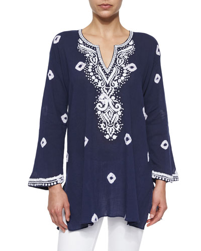 Embroidered Tie-Dye Tunic, Women