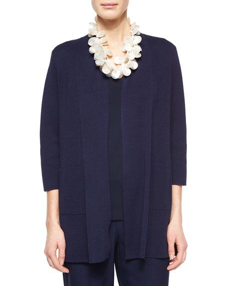 Eileen Fisher 3/4-Sleeve Silk-Cotton Interlock Cardigan, Midnight