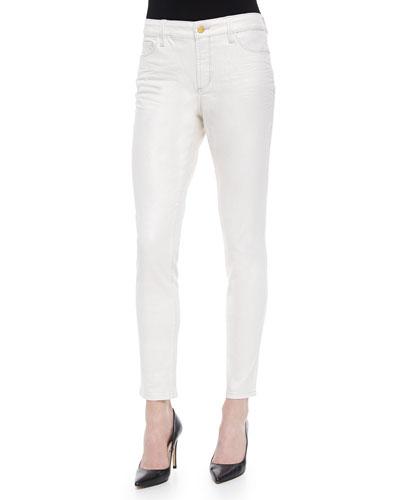 Ami Metallic-Coated Super-Skinny Jeans
