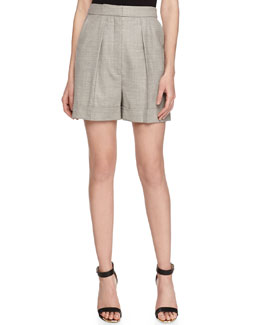 Silk High-Rise Shorts, Gray