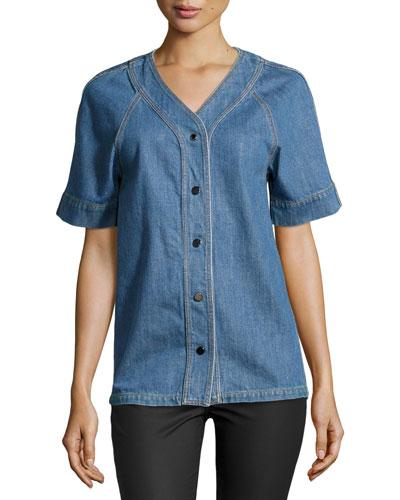 Short-Sleeve Button-Front Denim Shirt