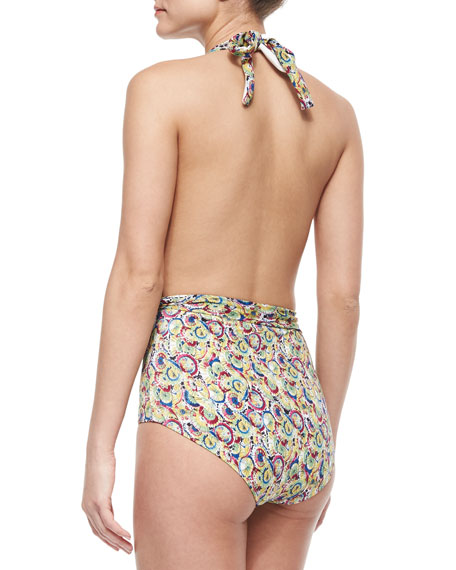 Parasol-Print One-Piece Halter Swimsuit