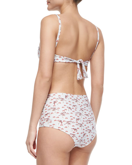 Retro Mushroom-Print Two-Piece Swimsuit