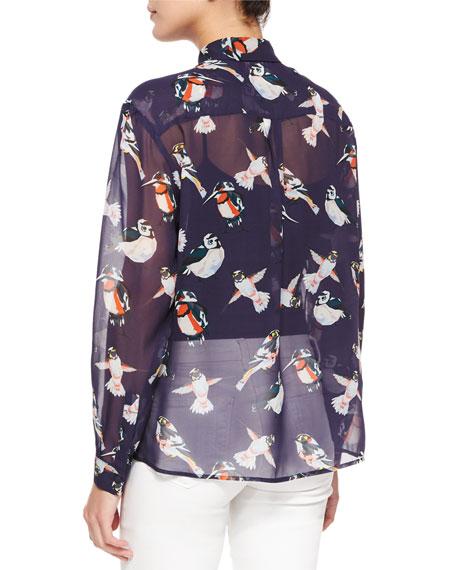 709e4b8a4b MSGM Sheer Bird-Print Silk Blouse | Neiman Marcus
