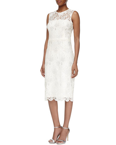 Sleeveless Illusion Lace Cocktail Dress