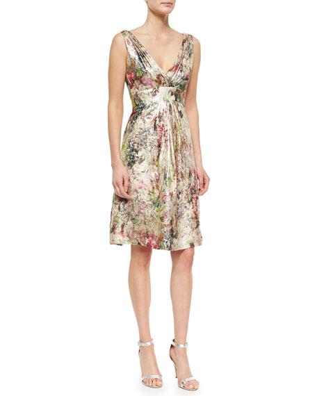 Kalinka Sleeveless Metallic Jacquard Party Dress