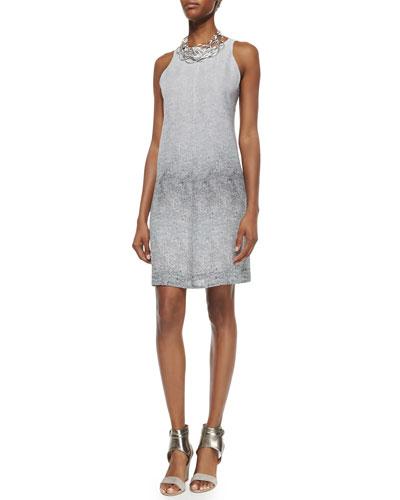 Halter Ombred Thumbprint Silk Dress, Graphite, Petite