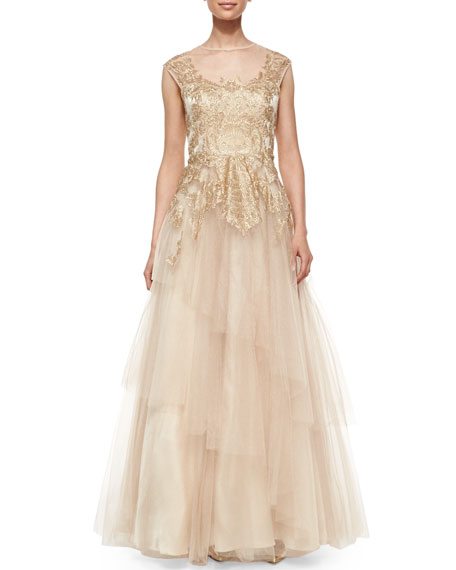 Cap-Sleeve Lace & Chiffon Layered Tulle Gown