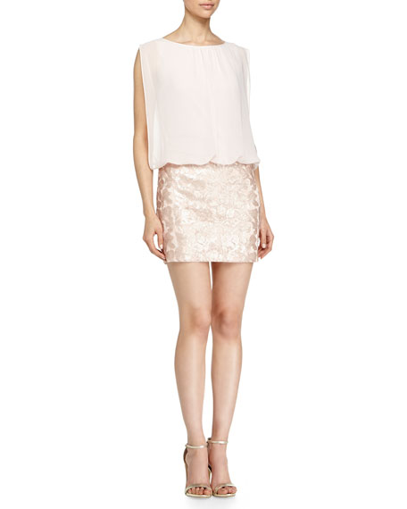 Blouson Sequined Combo Dress, Petal