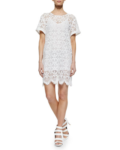 Frame Le Boyfriend Lace Dress Blanc Wow Wearshoesstore