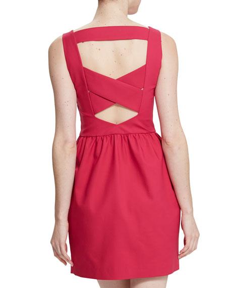 Cara Cross-Back Dress, Pigment Red