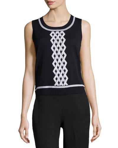 Scoop-Neck Sleeveless Knit Top, Black/Bright White