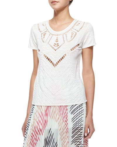Cadby Beaded Crewneck Tee, Cream