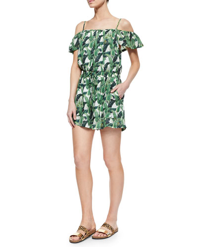 Ashby Foliage-Print Romper