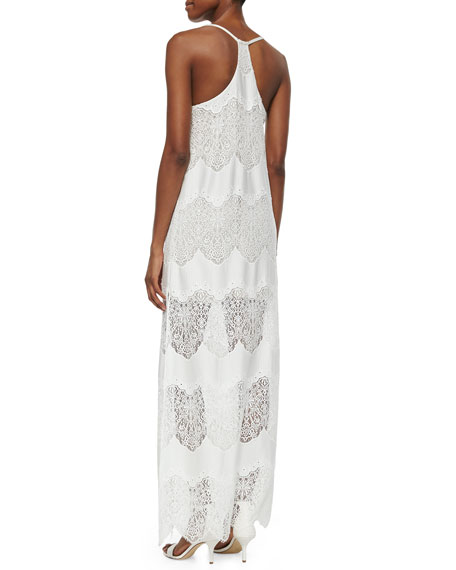 Alice Olivia Vandy Low Cut Lace Slip Dress Cream