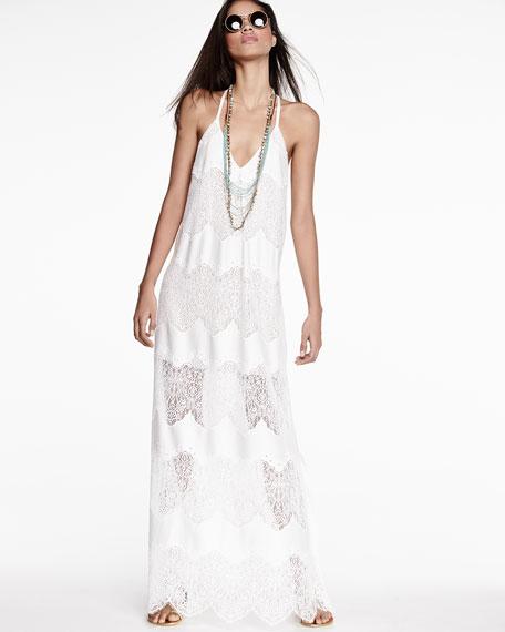 Vandy Low-Cut Lace Slip Dress, Cream